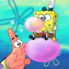 SpongeBobandPatrickBlowingBubbleGumNickMagazineCoverartbyShermCohen
